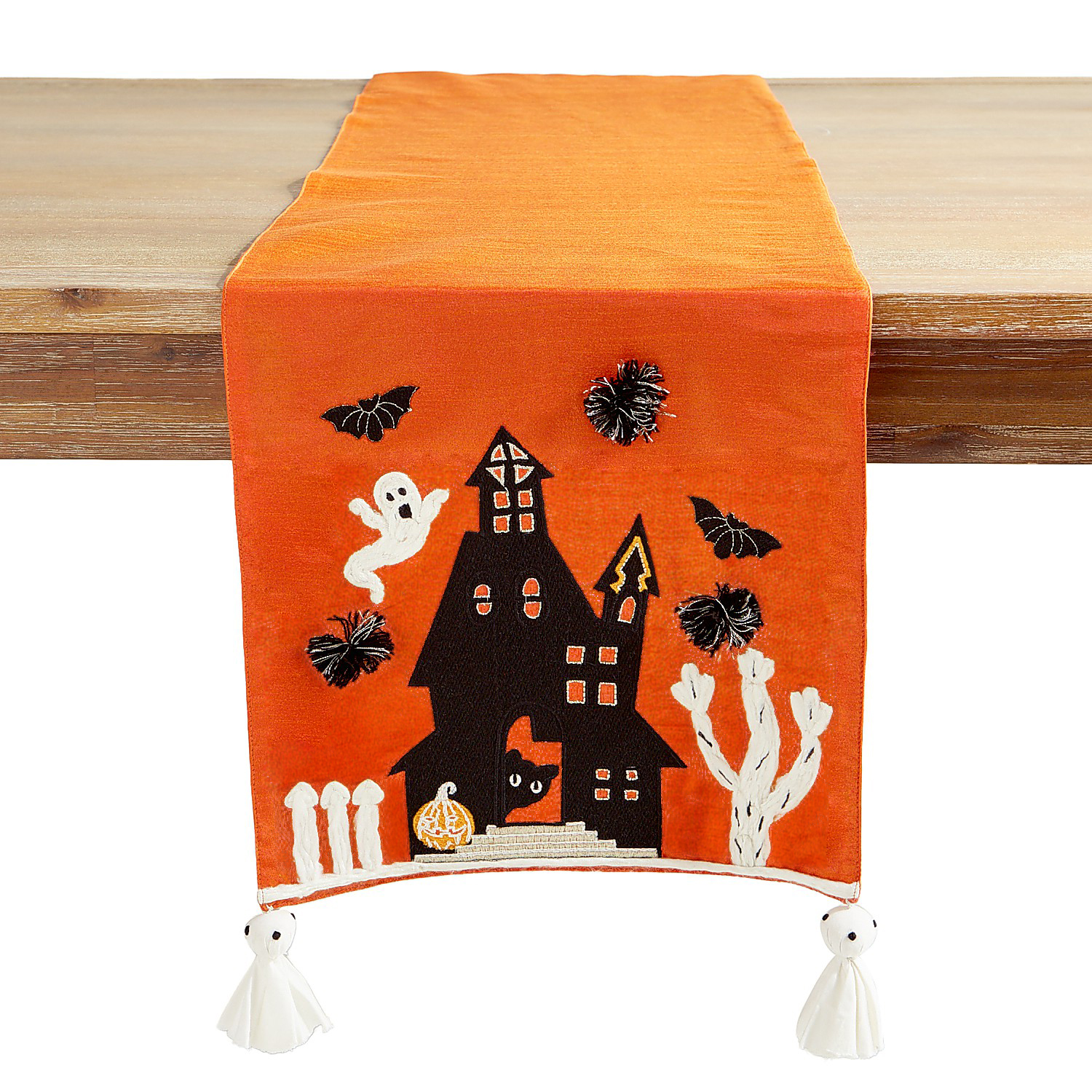 """72"""" Haunted House Table Runner with Ghost Tassels"""