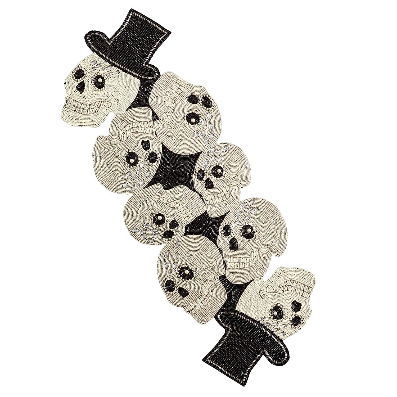 """36"""" Beaded Glitz Skull Halloween Table Runner"""