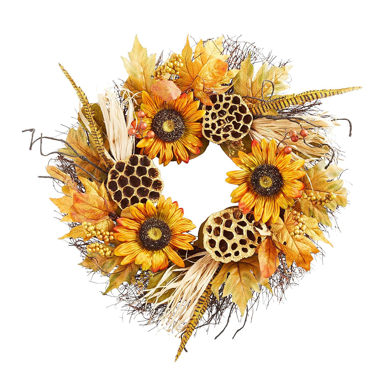 "21"" Faux Sunflower & Cornhusk Wreath"