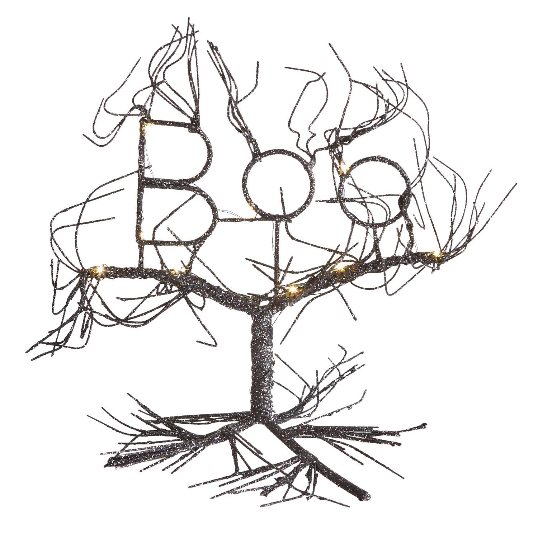 LED Light-Up Boo Black Wire Halloween Tree