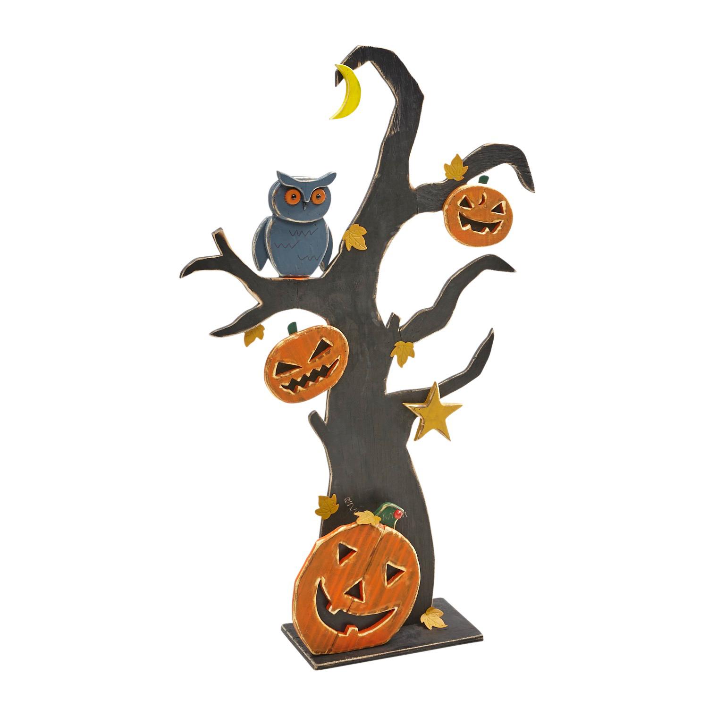 Owl on Pumpkin Tree Halloween Decor
