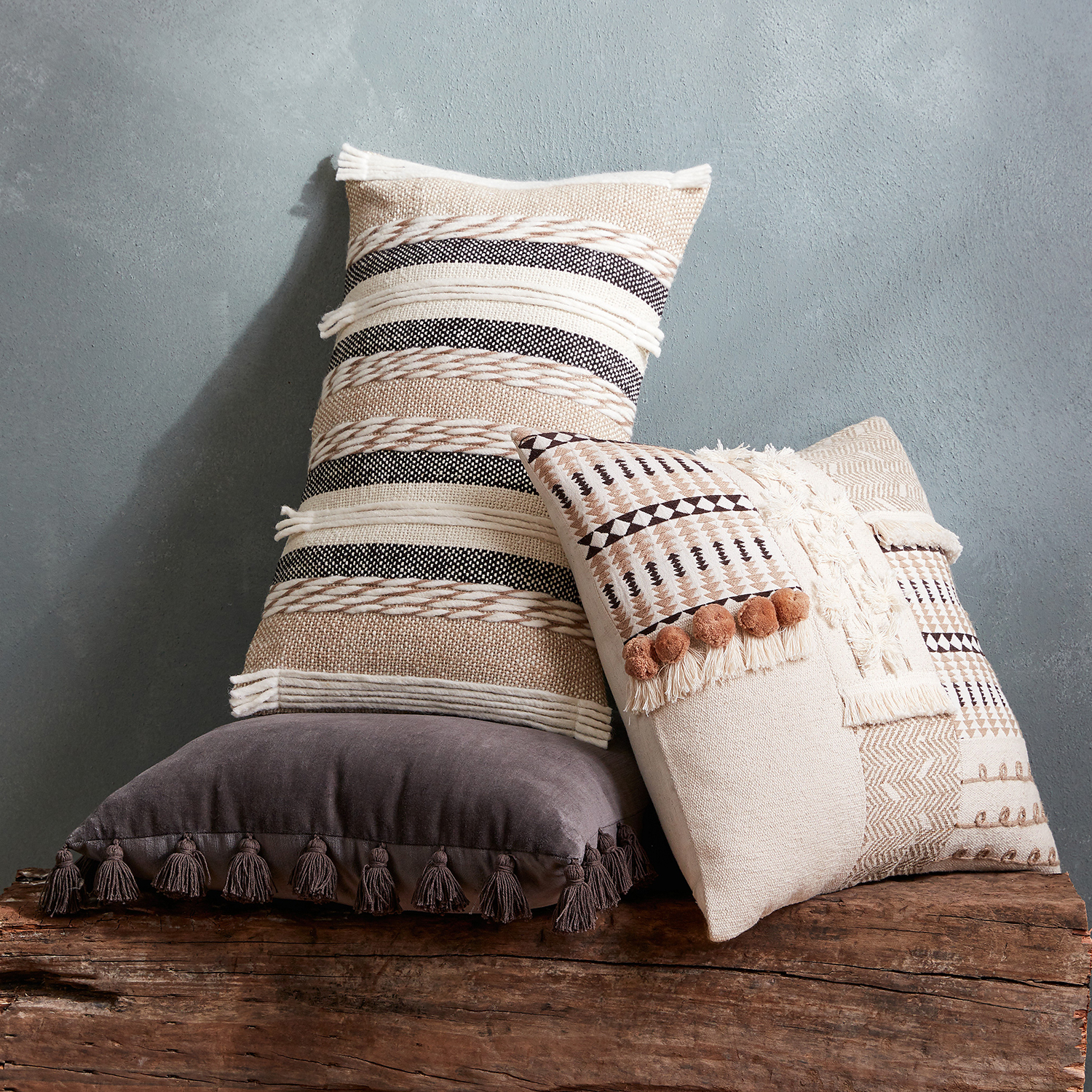 Textured Stripes Lumbar Pillow