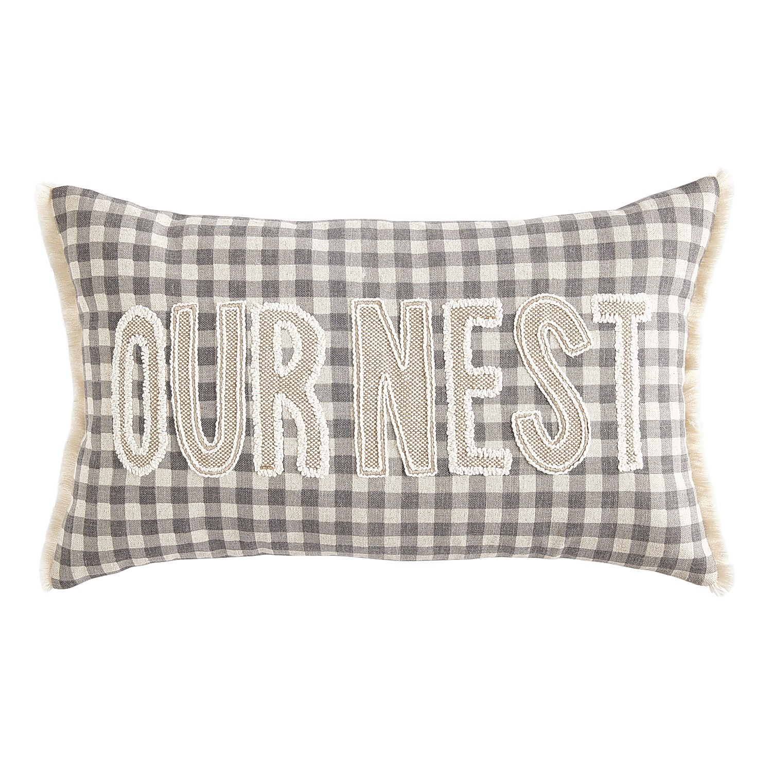 Our Nest Gingham Gray Pillow