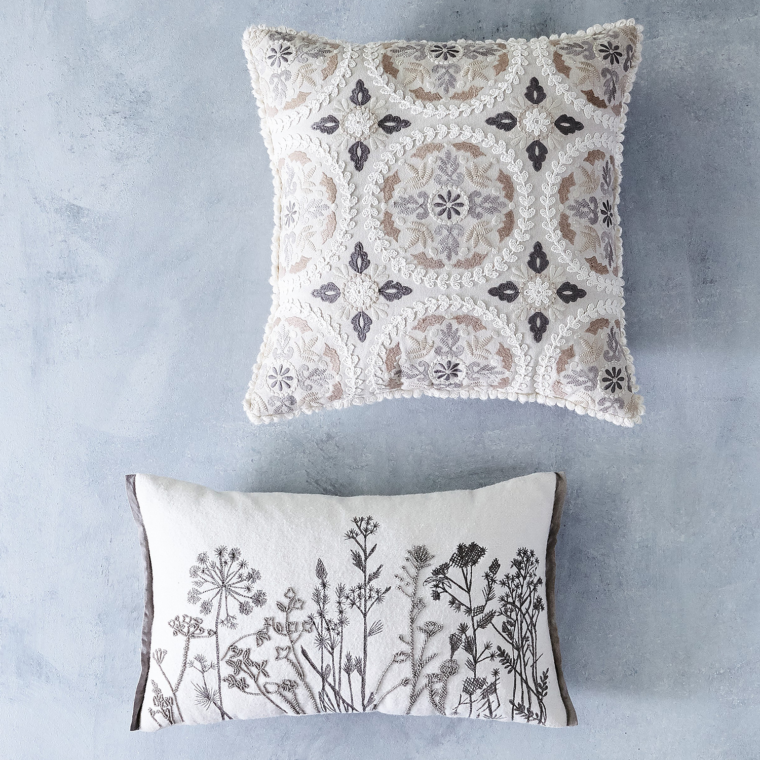 Embellished Medallion Pillow with Loop Trim