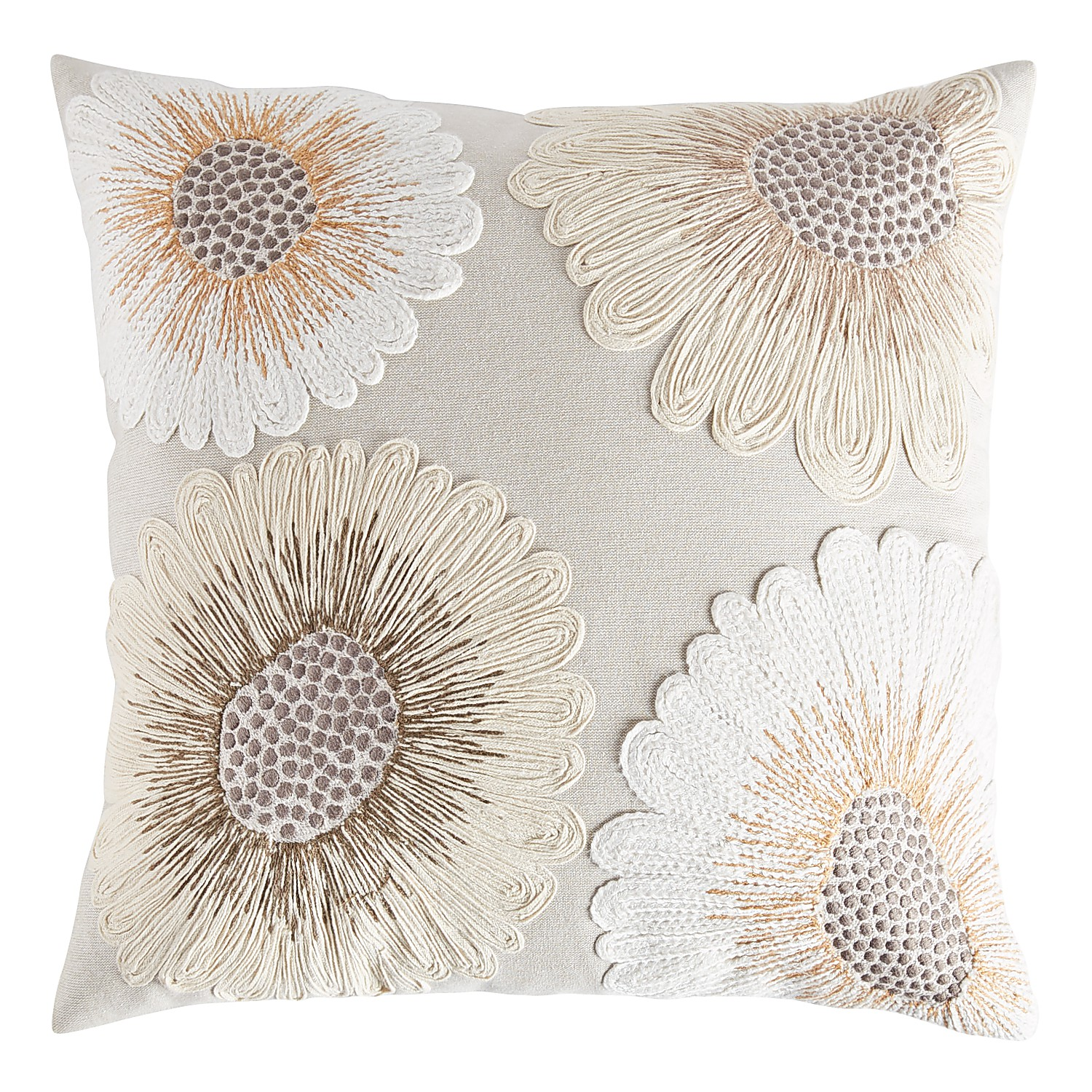Embellished White & Natural Sunflowers Pillow