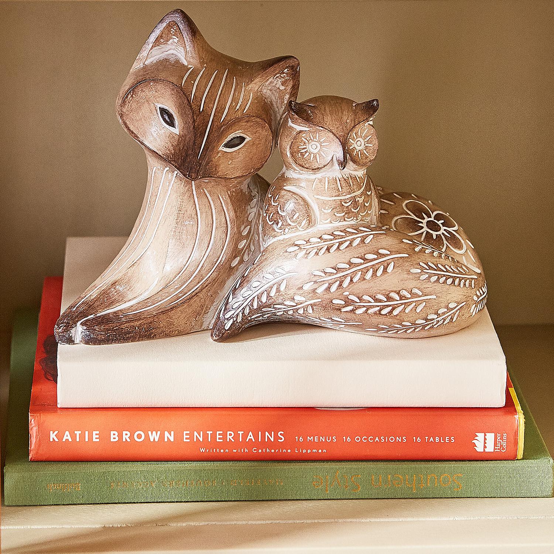 Fox & Baby Owl Resin Decor