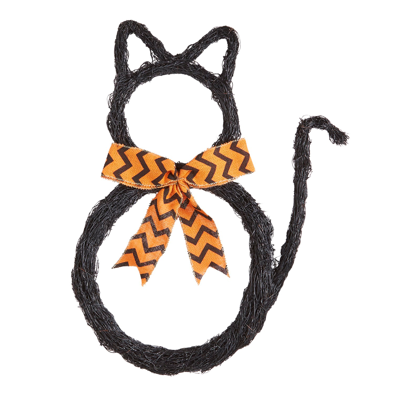 Cat with Ribbon Sisal Wreath & Door Decor