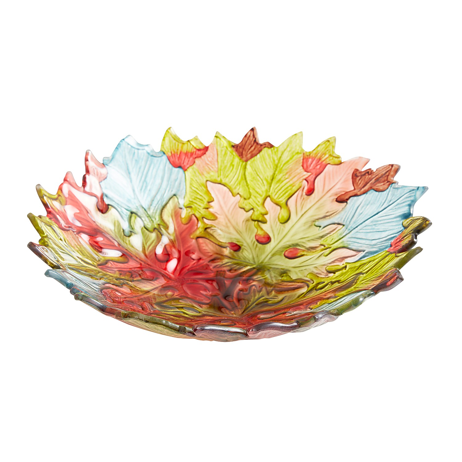 Glass Maple Leaves Serve Bowl