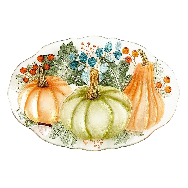 Glass Traditional Pumpkin Platter