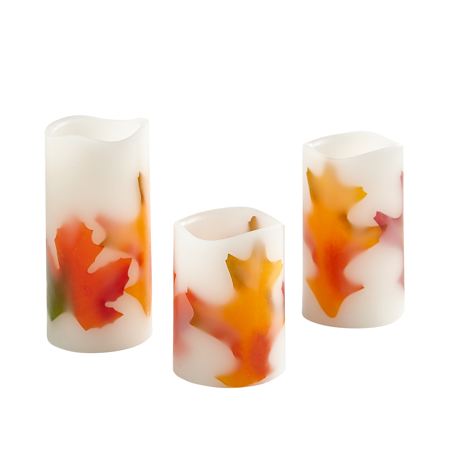 LED Fall Leaves Inlay Pillar Candles Set of 3