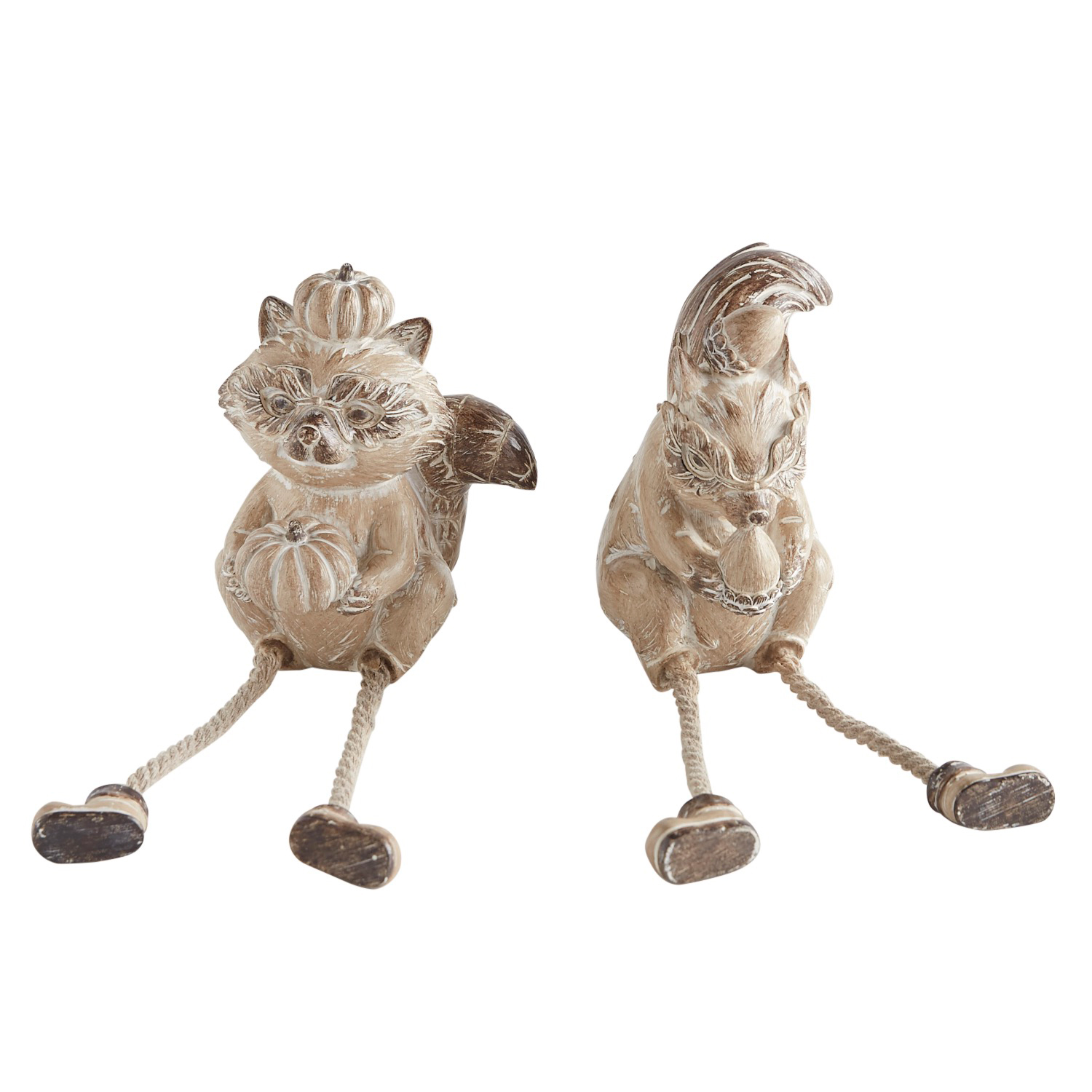 Carved Squirrel & Fox Critter Set of 2