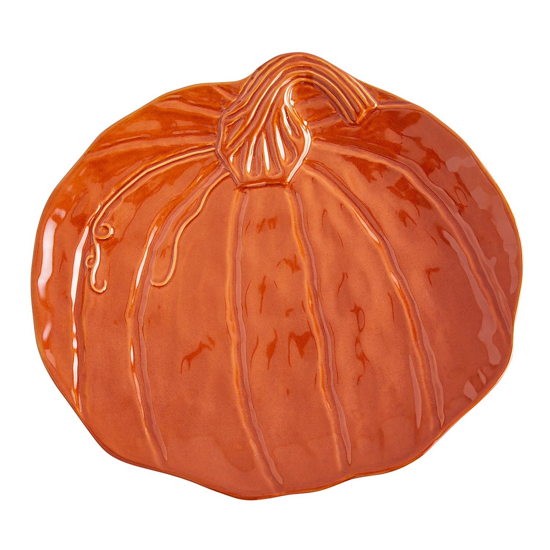 Figural Orange Pumpkin Platter