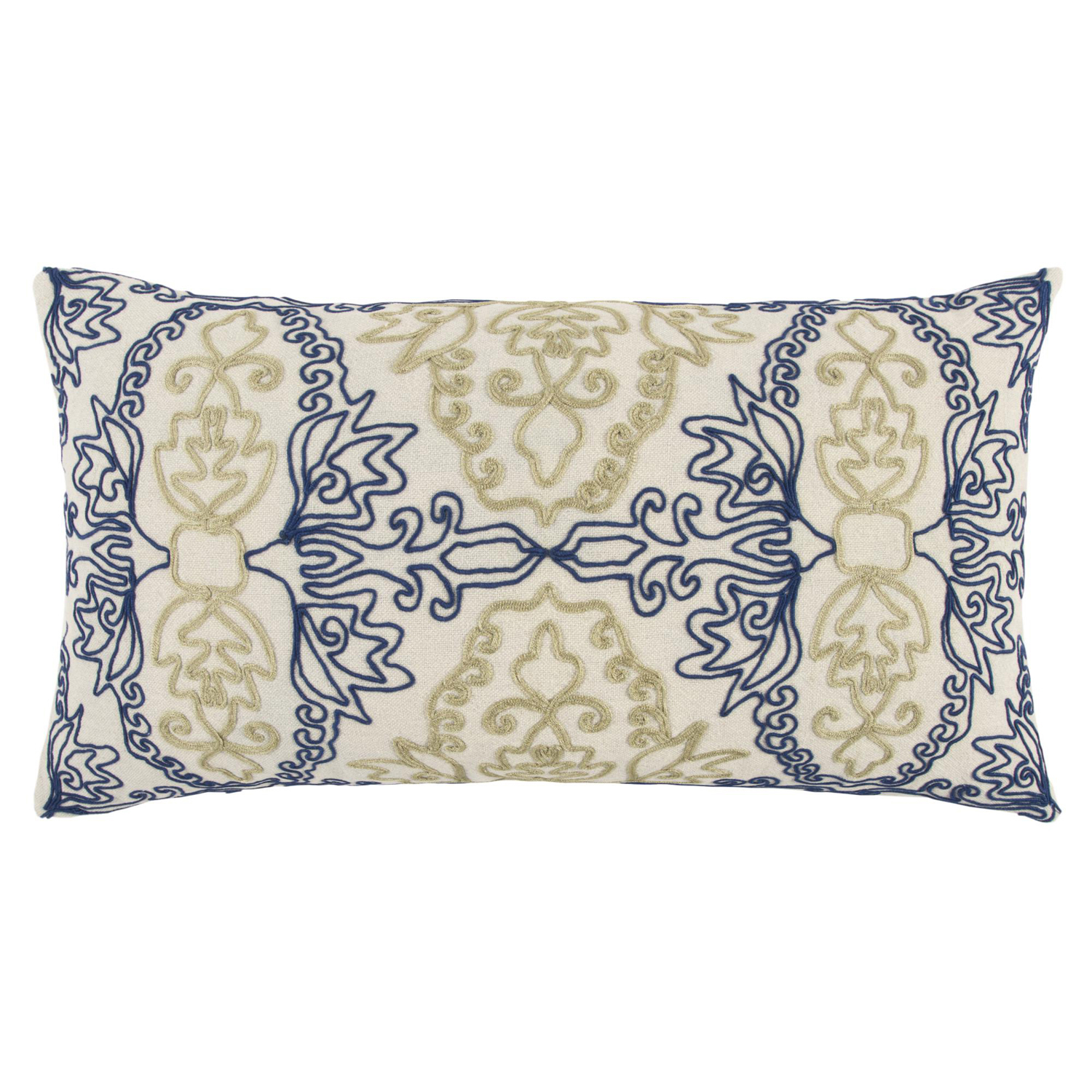 Embellished Medallion Blue Lumbar Pillow Cover