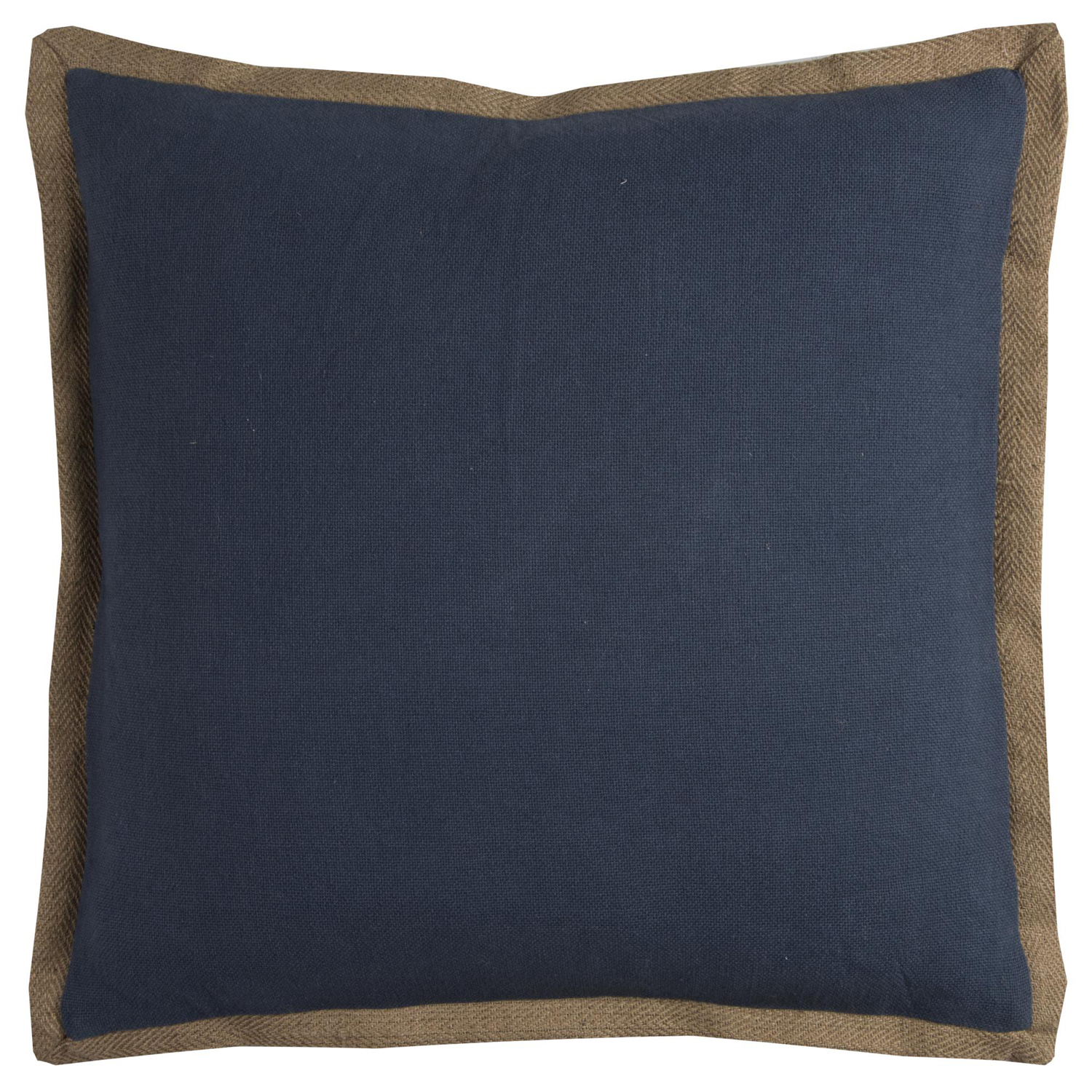 Trimmed Solid Blue Pillow Cover