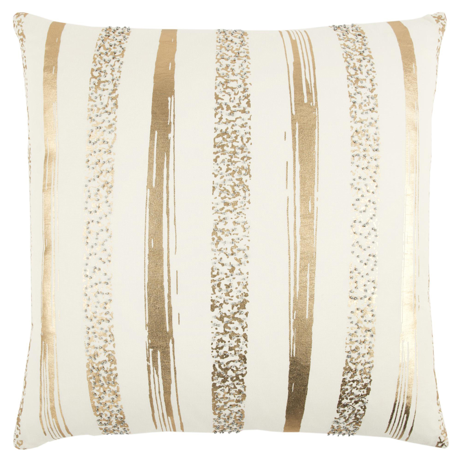 Striped Gold Metallic Pillow Cover
