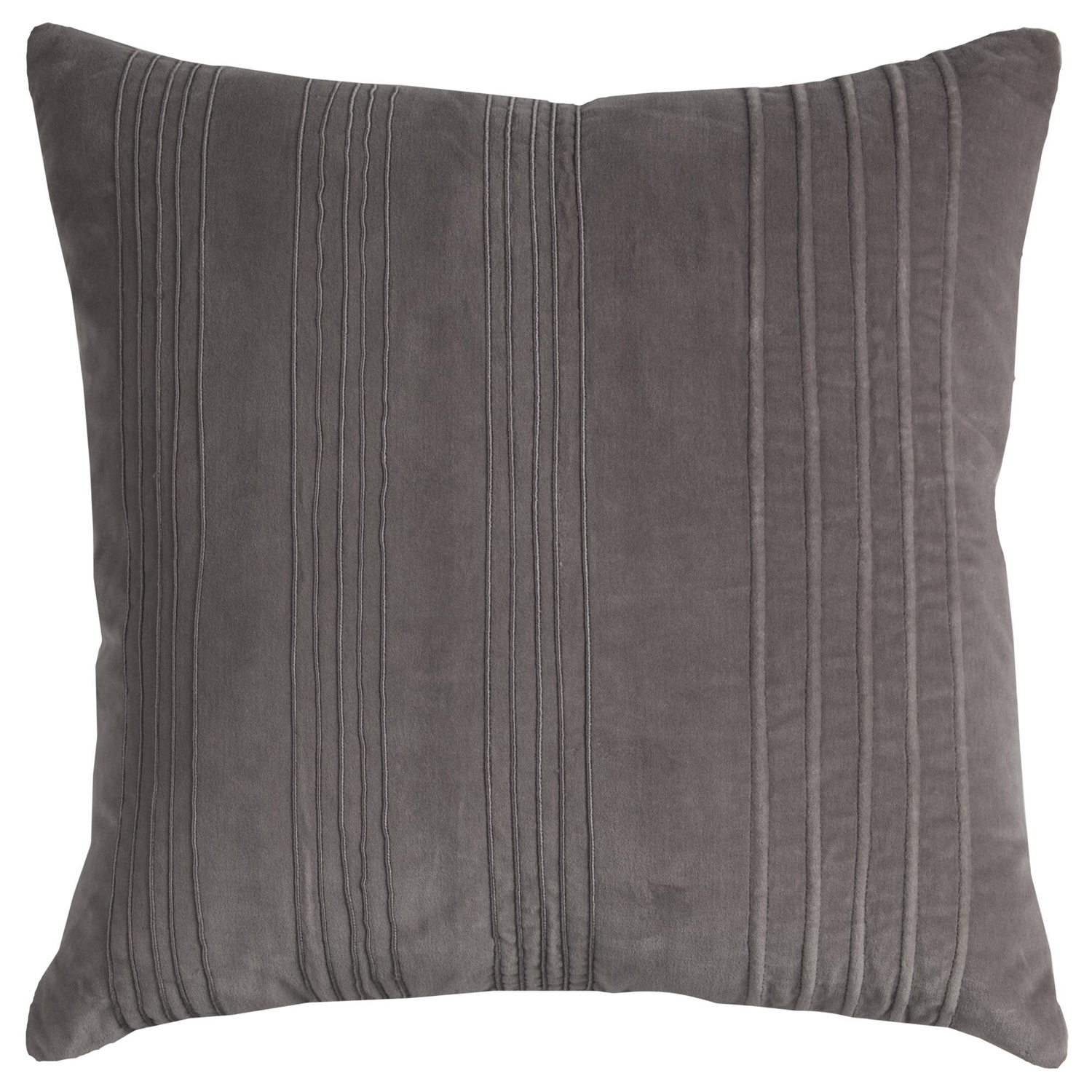 Solid Striped Dark Gray Throw Pillow