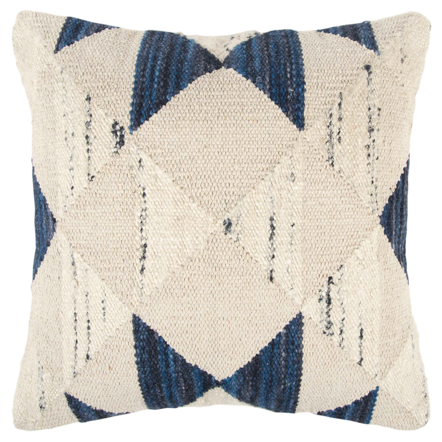 Geometric Indigo Wool Throw Pillow