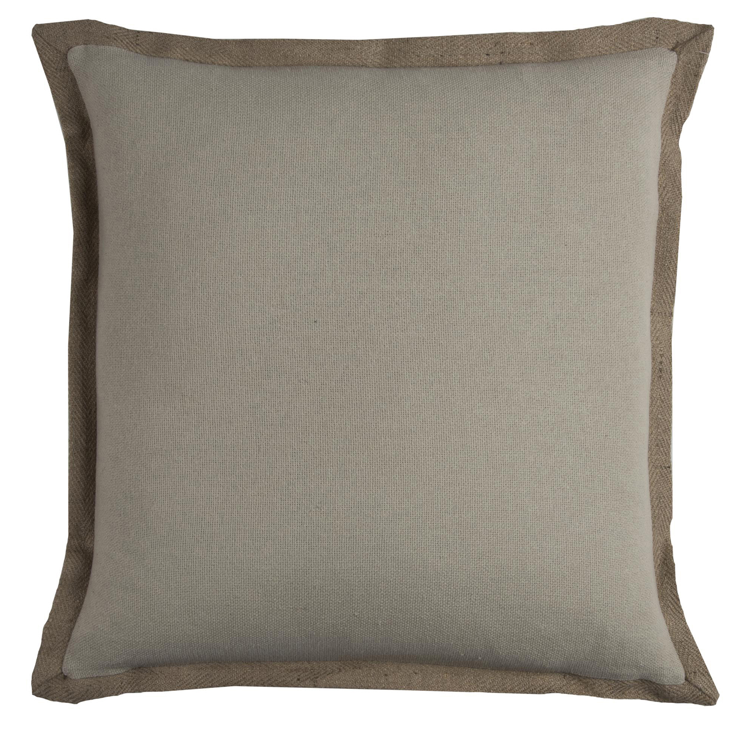 Trimmed Solid Natural Pillow Cover