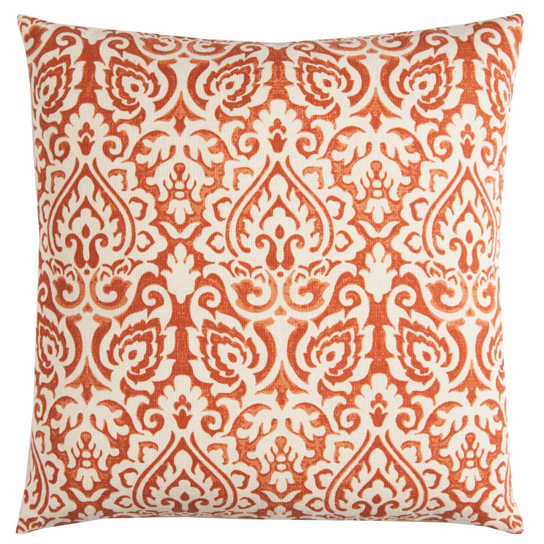 Damask Orange & Natural Pillow Cover
