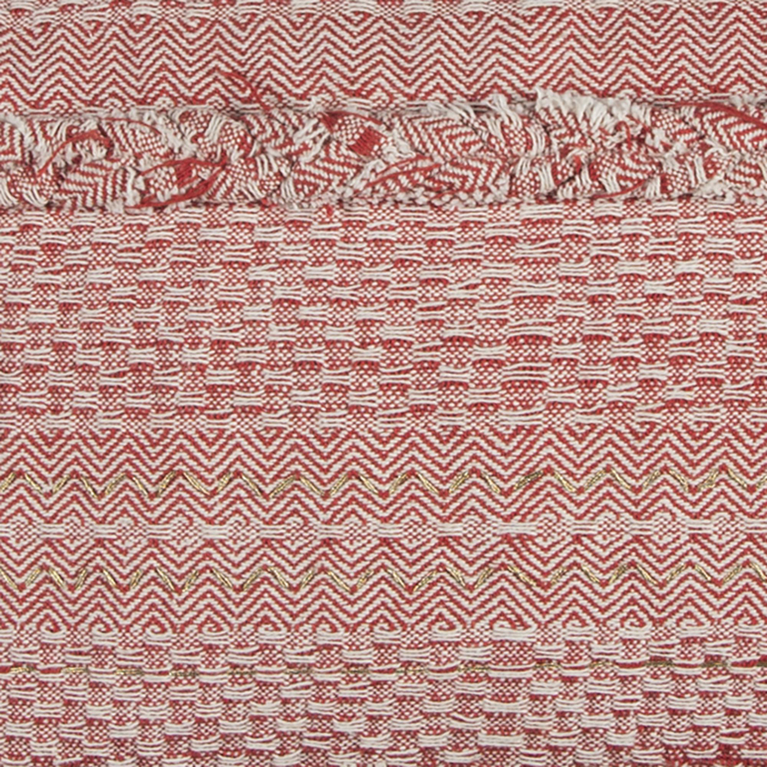 Textured Stripe Red Lumbar Pillow Cover with Tassels