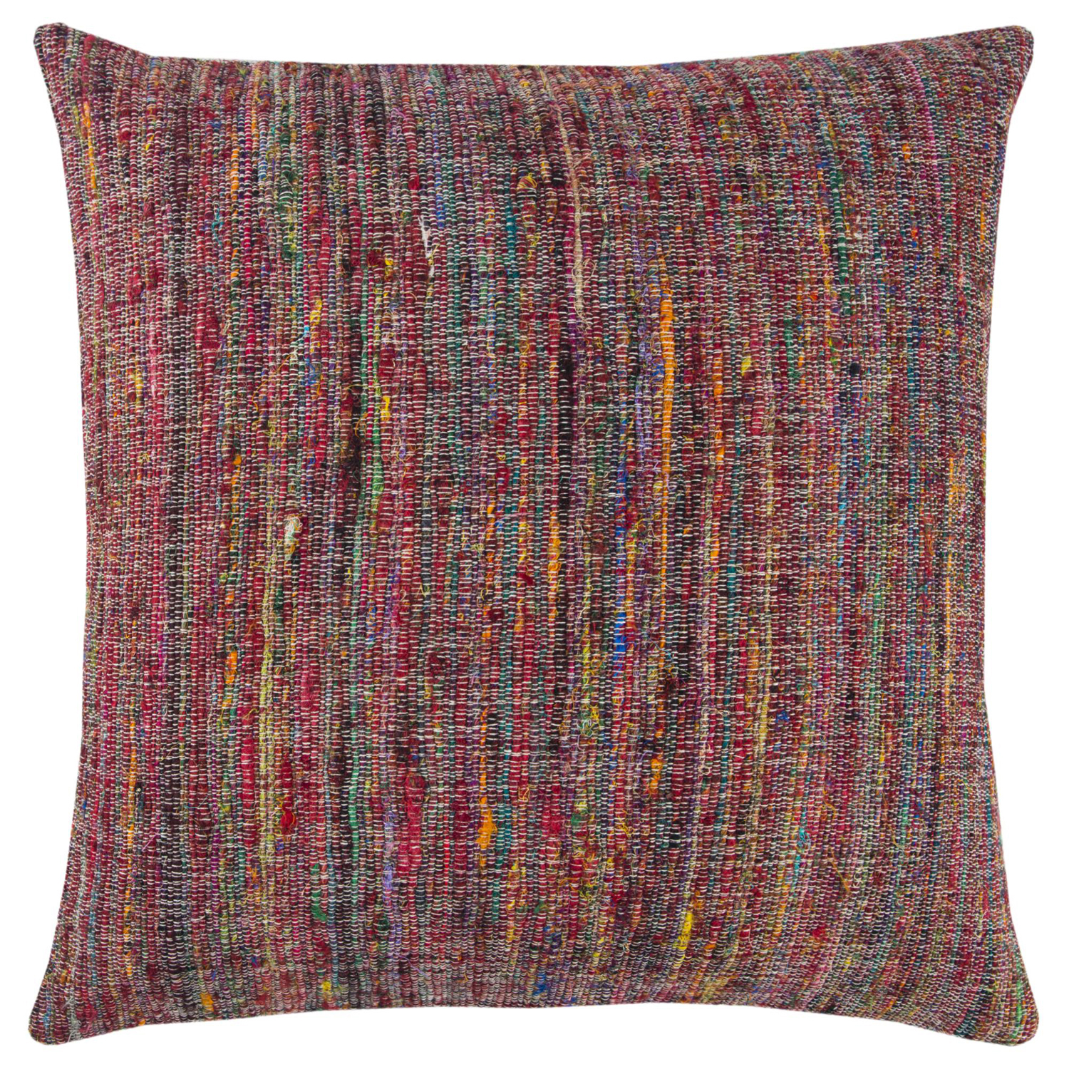 Textural Stripes Red Pillow Cover