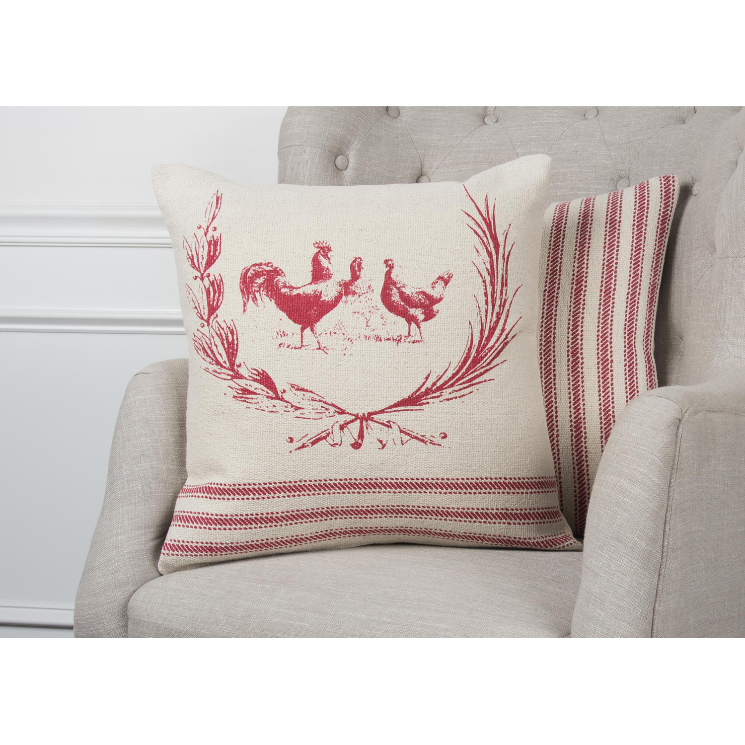 variation thumbnail of Country Rooster Red & Natural Pillow Cover