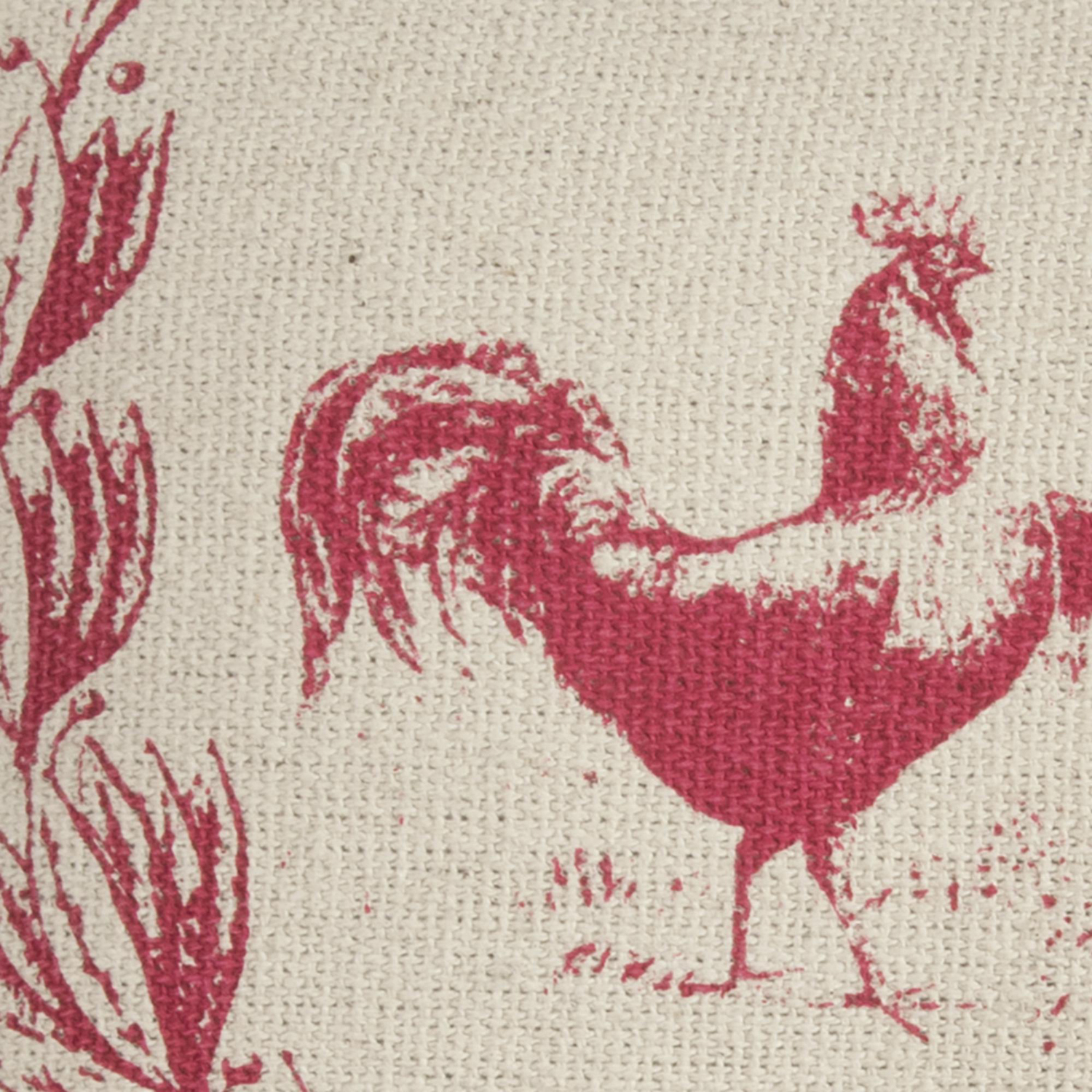 Country Rooster Red & Natural Throw Pillow