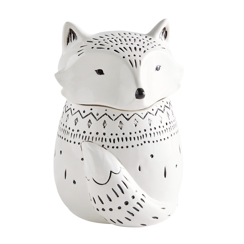 Harvest Black & White Fox Cookie Jar