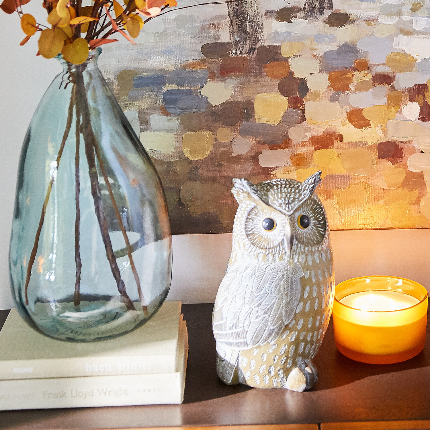 Large Carved Resin Owl