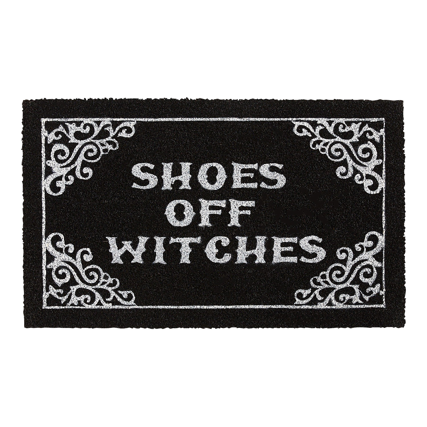 """Shoes Off Witches 2'6""""x1'6"""" Doormat"""