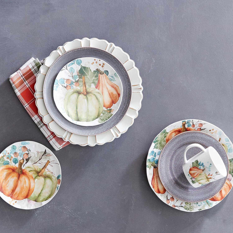 Watercolor Pumpkin Salad Plate Set