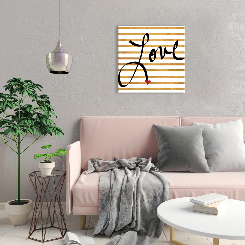 Gold Stripes Love Canvas Wall Art