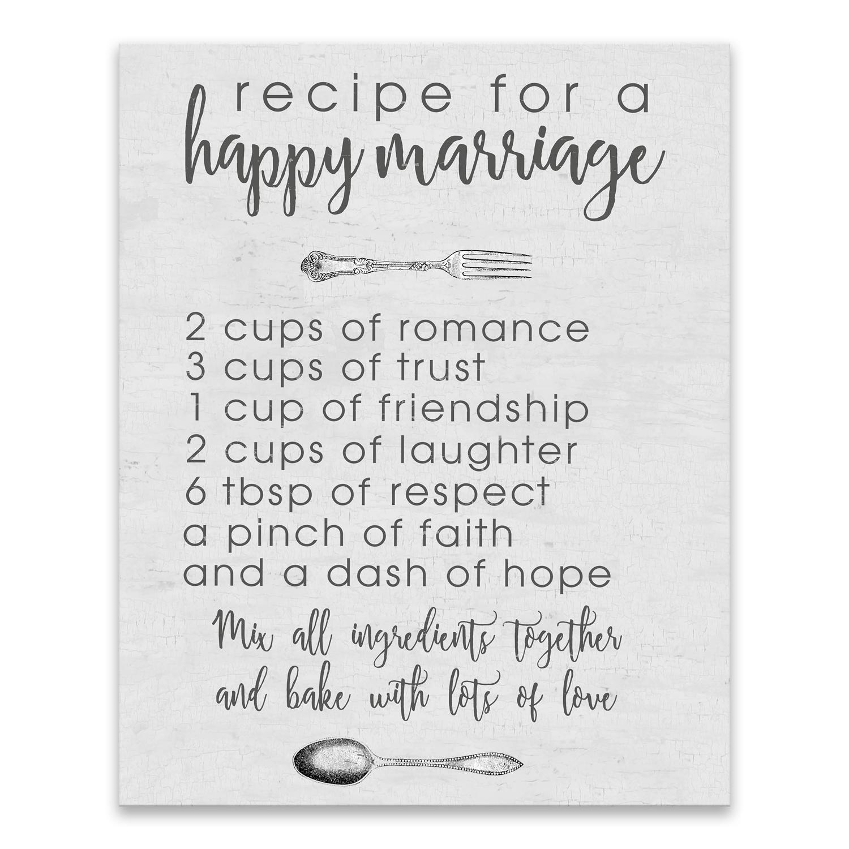 Marriage Recipe Canvas Wall Art