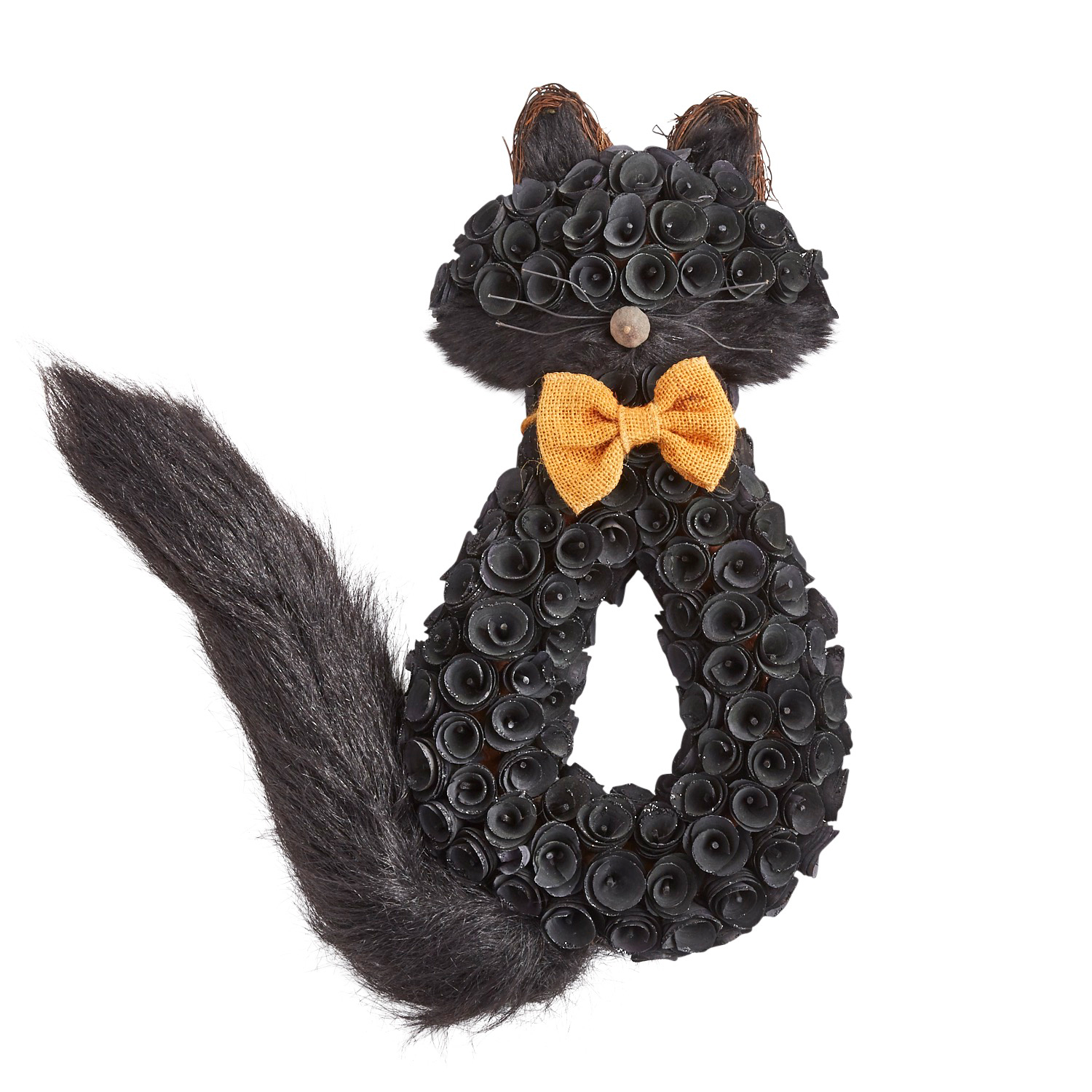 Black Cat Wood Curl Wreath