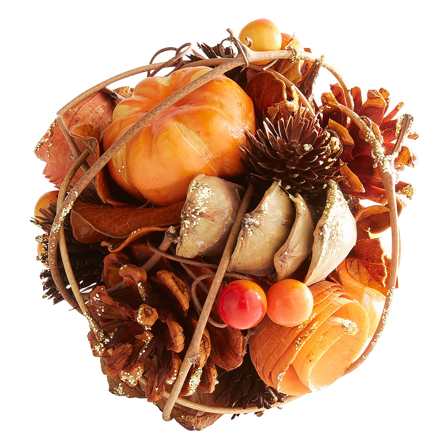 Harvest Wood Curl Glittered Decorative Sphere