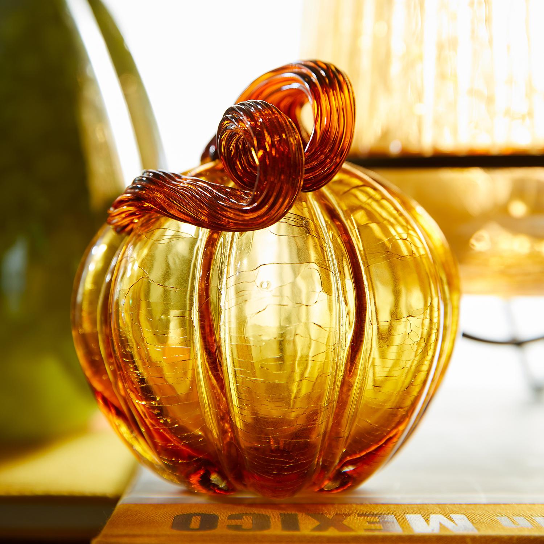 Amber Crackle Petite Glass Pumpkin