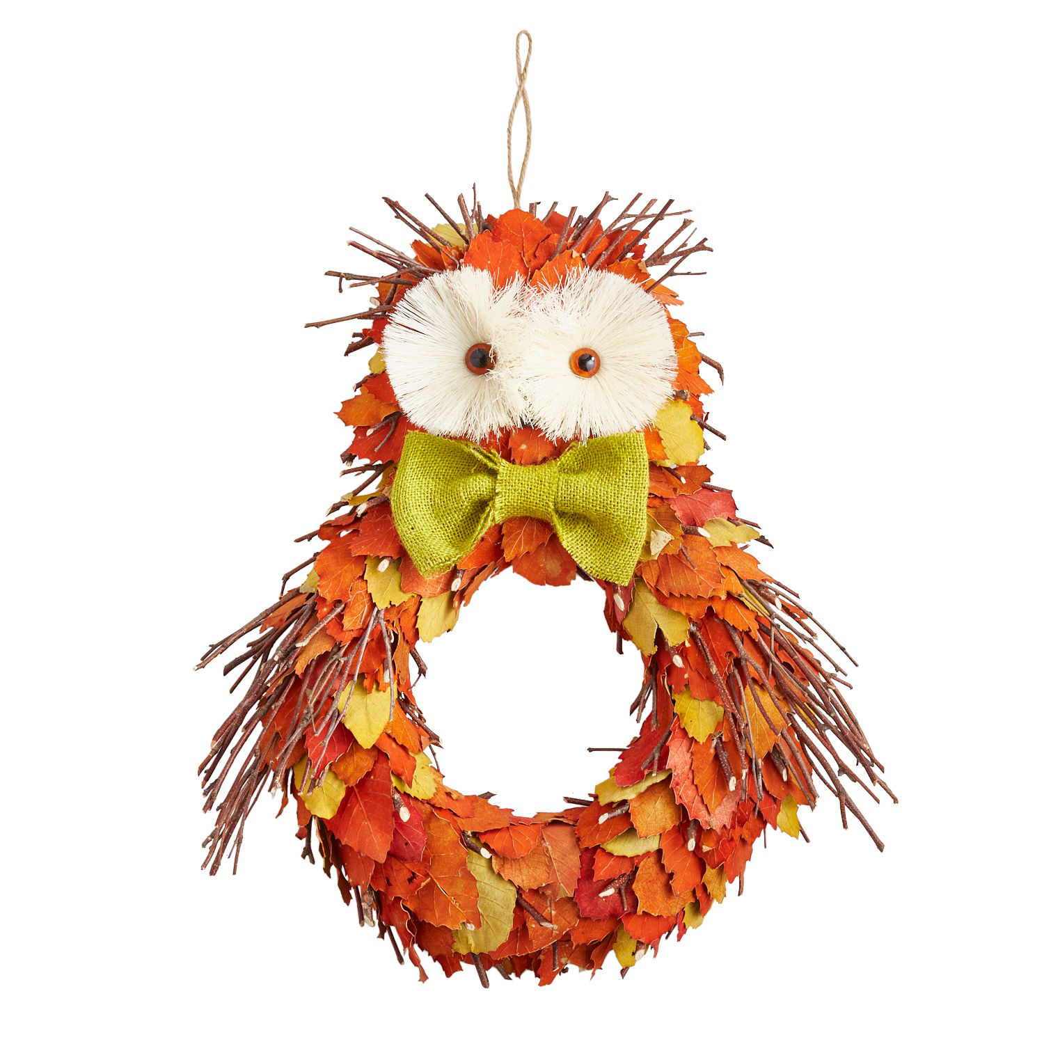 Natural Twigs & Leaves Owl Wreath