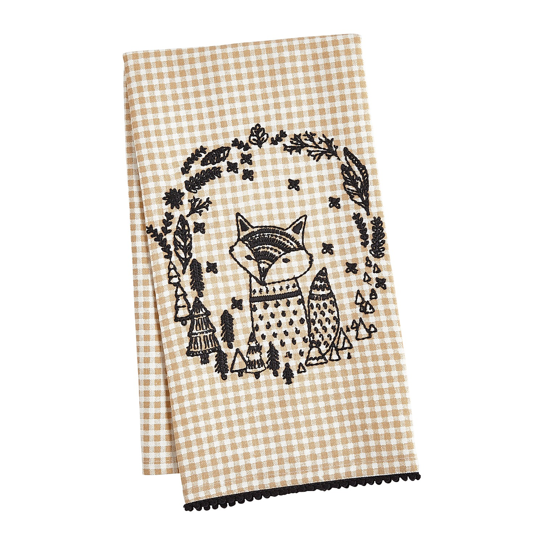 Embroidered Fox Tea Towel