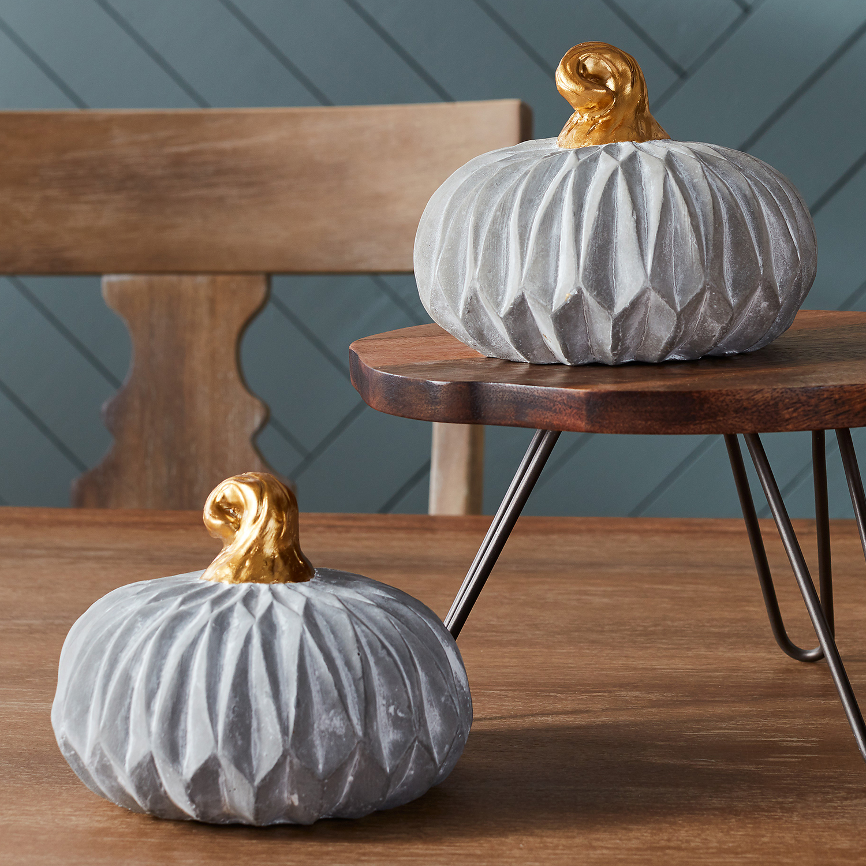 Gray & Gold Cement Pumpkin