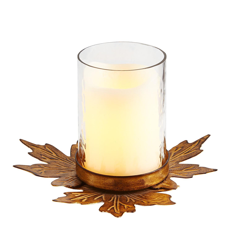 Metal Leaves Hurricane Candle Holder