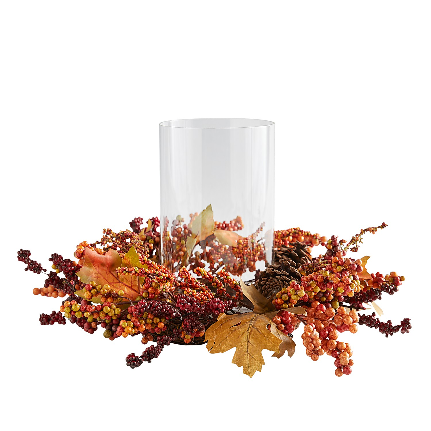 Faux Harvest Berry Hurricane Candle Holder