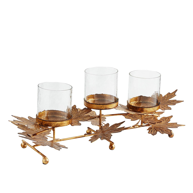 Metal Leaves Multiple Candle Holder