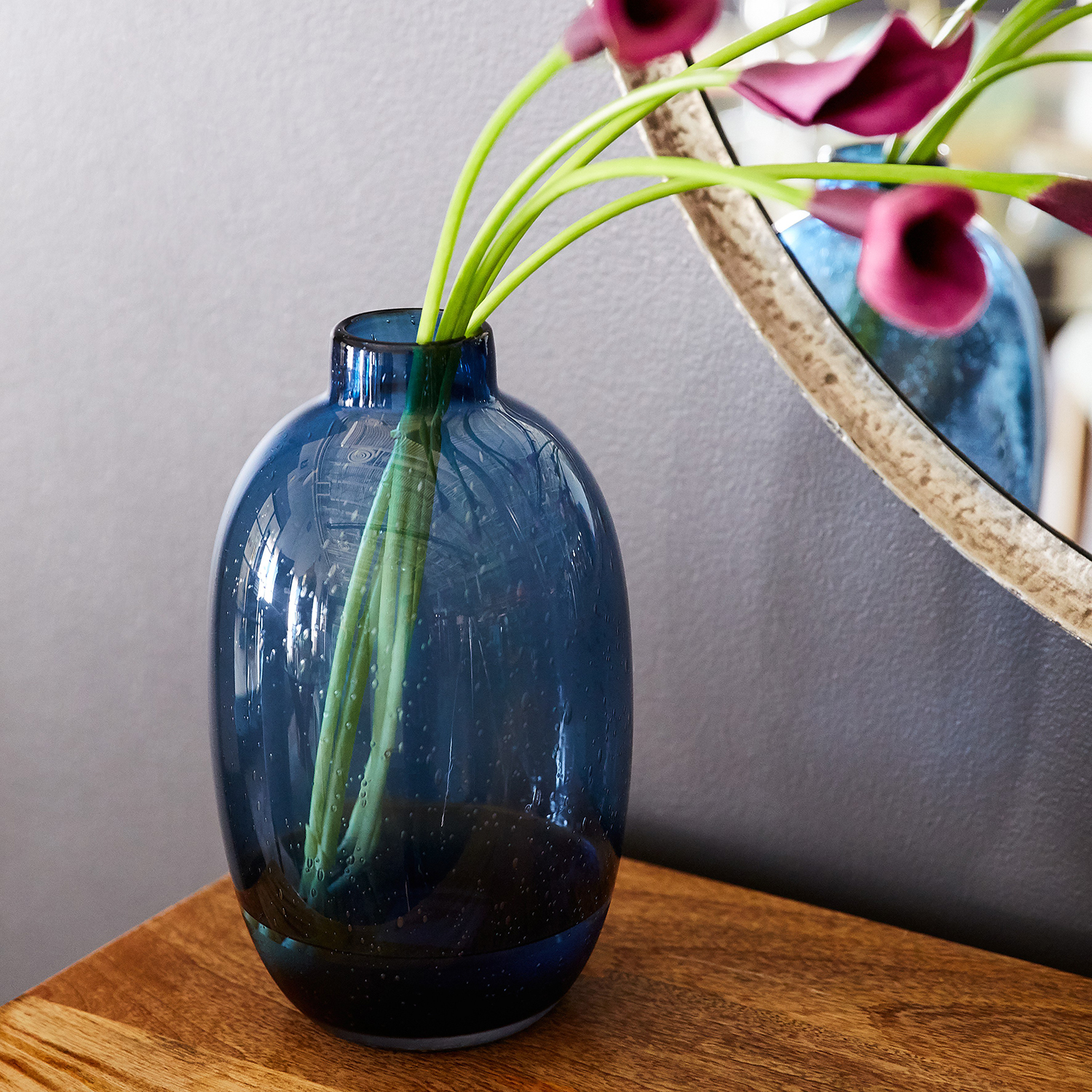 Seeded Blue Glass Vase
