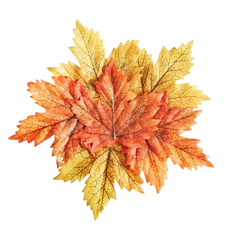 Harvest Faux Glitter Leaves Coaster