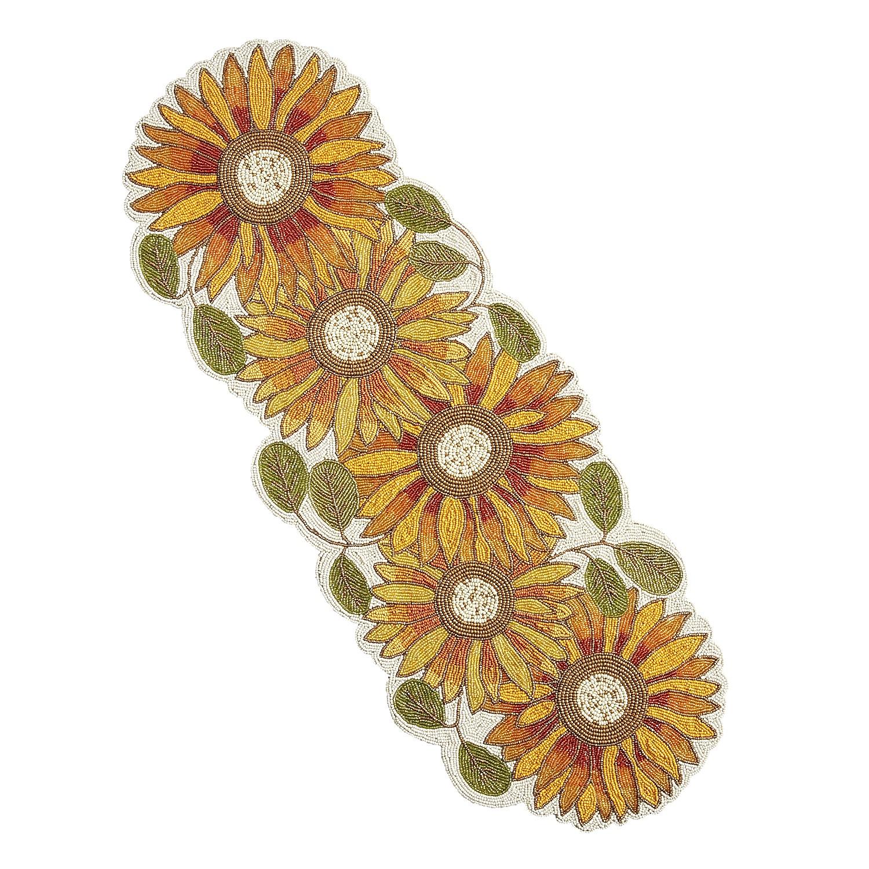"""38"""" Beaded Sunflower Table Runner"""