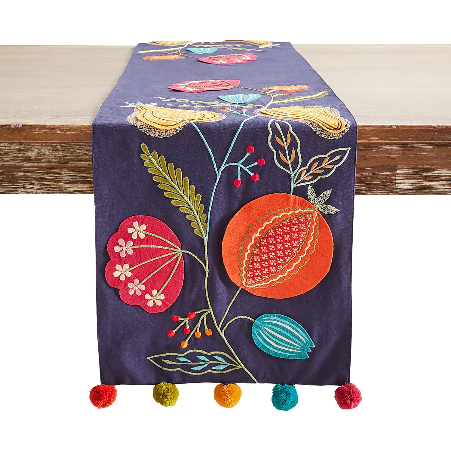 """72"""" Embroidered Persimmon Floral Table Runner"""