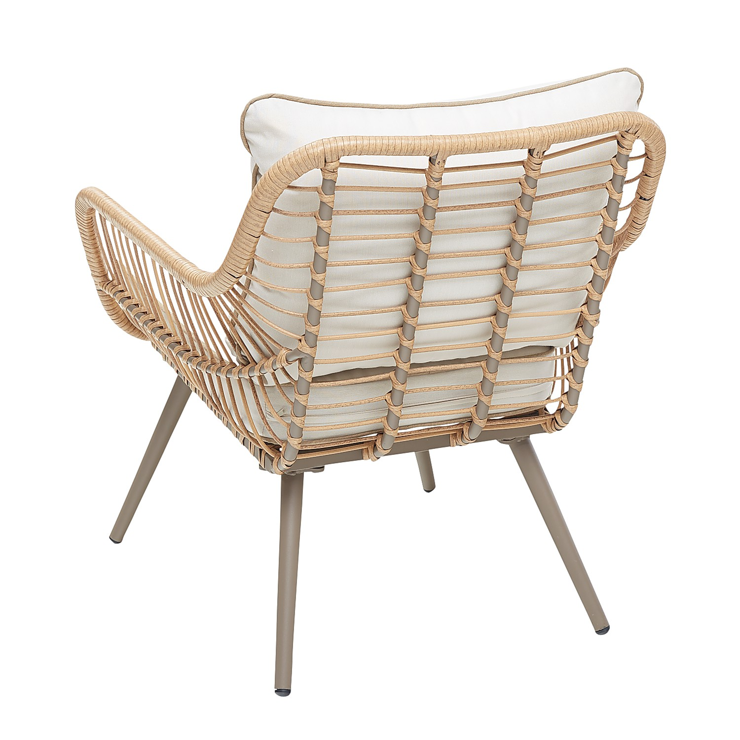 Natural Wicker Deluxe Chair with Ivory Cushions