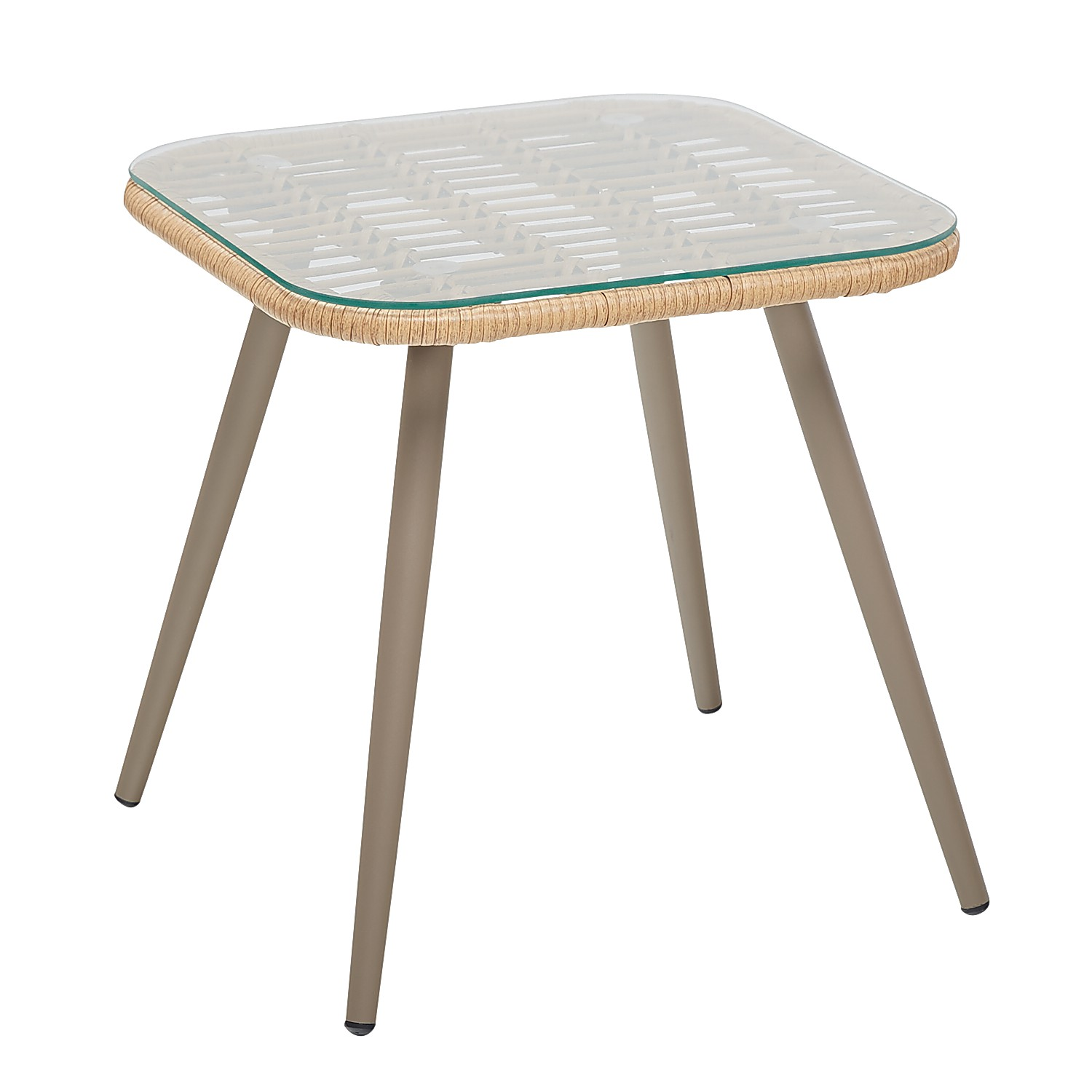Natural Wicker Deluxe Side Table with Glass Top