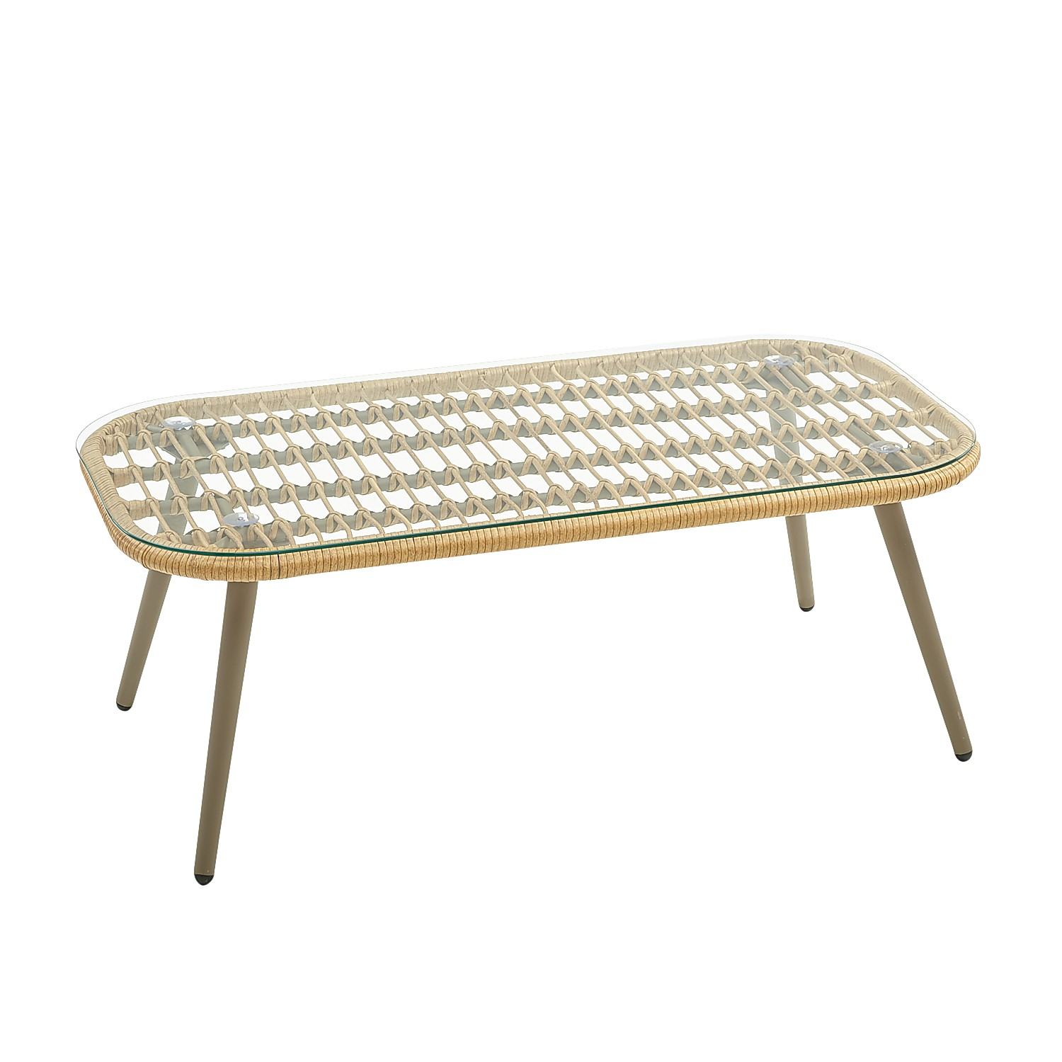 Natural Wicker Deluxe Coffee Table with Glass Top
