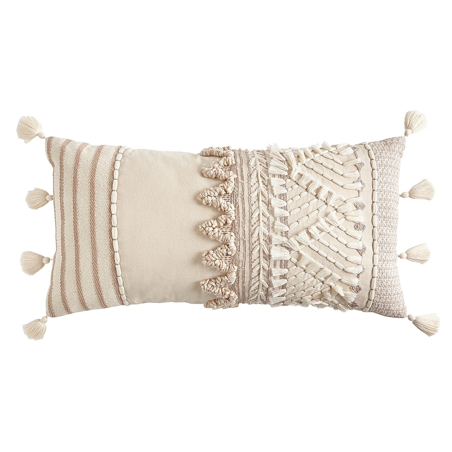 Textured Oversized Neutral Lumbar Pillow with Tassels